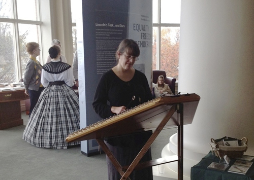 Performing at the opening of a Lincoln exhibit at the Culver Academies' library.